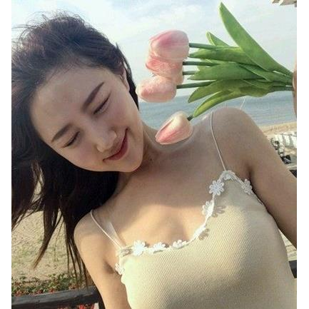 EASON SHOP GU2501 細肩帶針織背心蕾絲花邊無袖女上衣白色彈力緊身夏韓顯瘦V