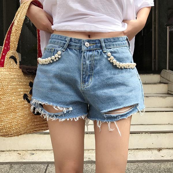 珍珠 牛仔短褲 牛仔褲 刷鬚 破洞 刷破 刷白 顯瘦 性感 百搭 長腿 翹臀 韓 ANNA