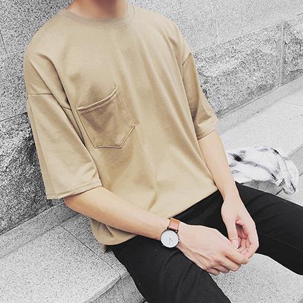 韓國製 百搭純色素面胸前口袋寬版落肩短T短袖上衣潮T恤長版T 十色~QMD20059~