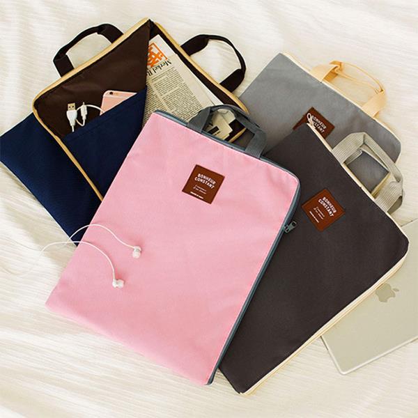 收納袋 韓國多 拉鍊手提包 約35x27cm 夾層 文件袋 文件包 公文包 手提袋 電腦包