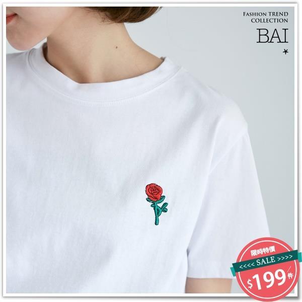 T恤 玫瑰花刺繡圖案圓領短袖上衣-BAi白媽媽【121054】