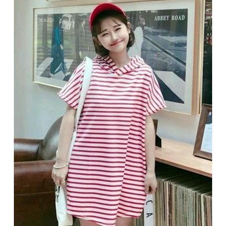 EASON SHOP GU1058 實拍~紅色條紋連帽T恤連身裙洋裝長版長款寬鬆女裝上衣
