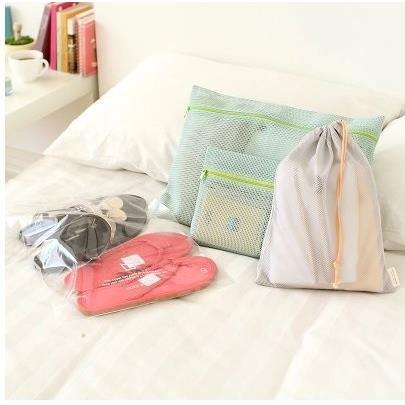 ►加價購◄ 尼龍網狀納袋4件組 拉鍊網袋~2 束口網袋~1 透明夾鏈袋~1 ~岡山真愛香水