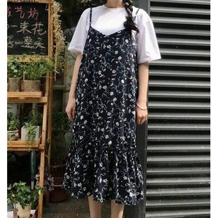 EASON SHOP^(GU2294^)細肩帶連身裙吊帶小碎花洋裝上衣魚尾裙雪紡女荷葉邊長