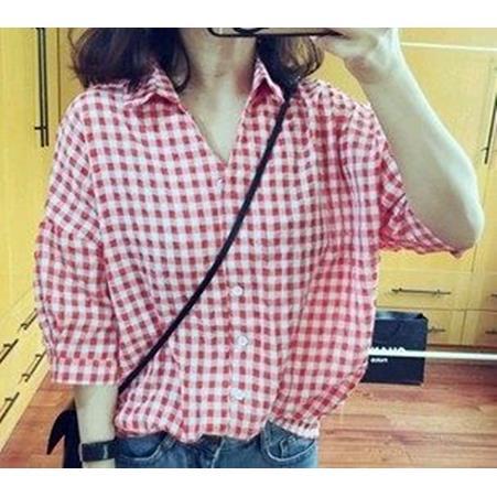 EASON SHOP GU2614 格子長袖襯衫五分袖女上衣紅色藍色格紋夏寬鬆顯瘦不規則韓