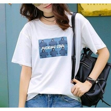 EASON SHOP GU2623 圓領短袖T恤五分袖女上衣白色棉T英文字母港味chic