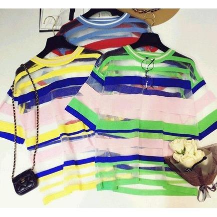 EASON SHOP GU2769 條紋紗網撞色圓領短袖T恤透視女上衣白色棉T 韓拼色針織