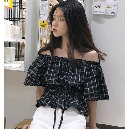 EASON SHOP^(GU2793^)一字領短袖平口短袖襯衫女上衣白色棉T格子格紋修身露