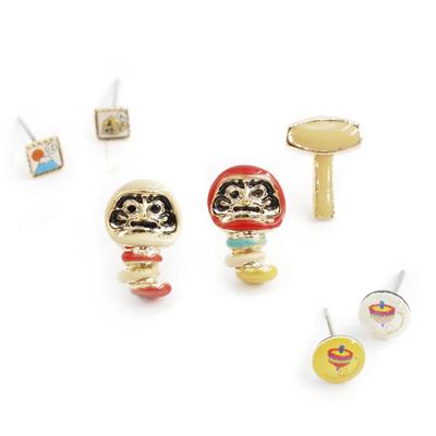 Gargle 文化之美:懷舊玩具不倒翁耳環組  白達摩   紅達摩  ◤apm飾品◢