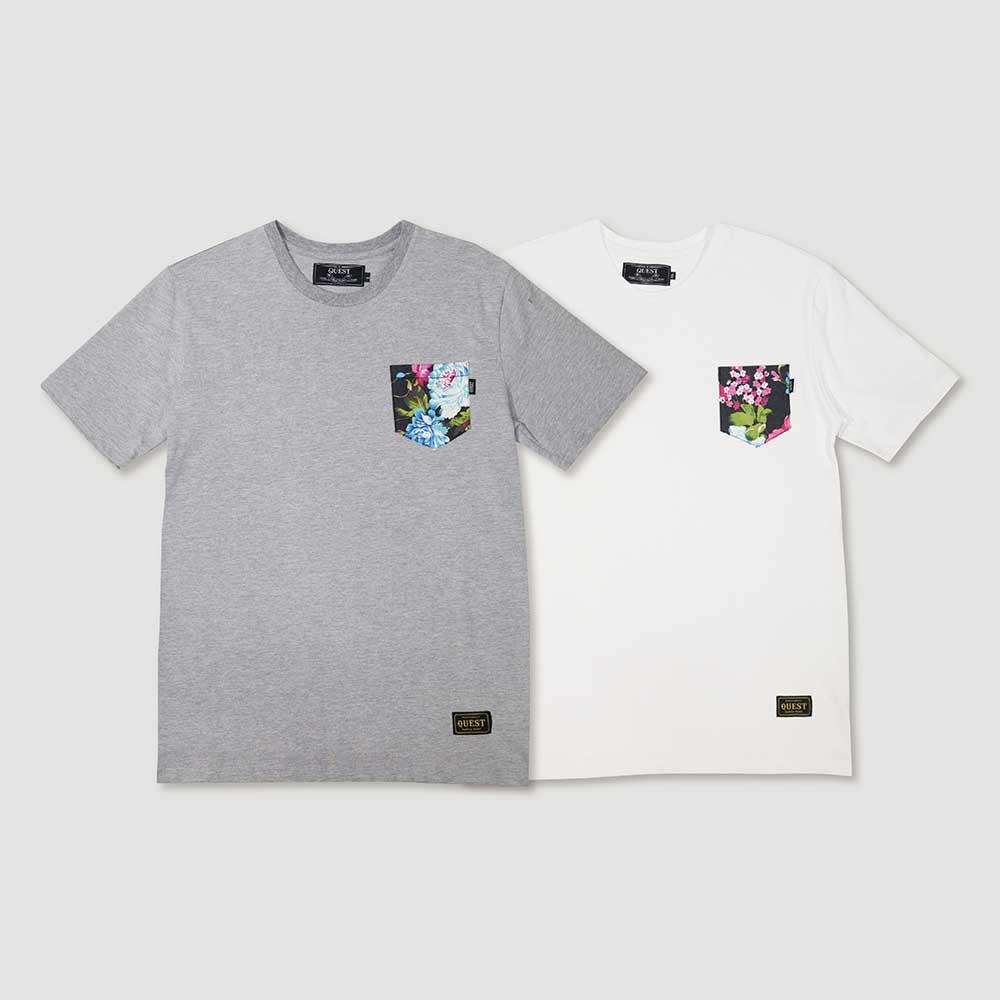 【QUEST】FLOWER POCKET TEE 花卉口袋短T