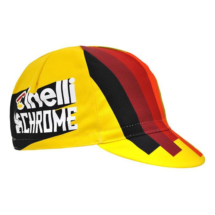 義大利 Cinelli-2017 TEAM CINELLI CHROME RACING CAP 布帽 小帽 (CHROME黃紅黑)