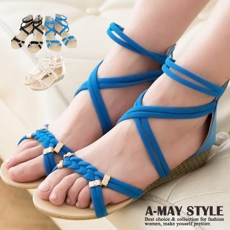 艾美 ~ ~麻花編織水鑽楔型涼鞋~XLA~28~Y2~4
