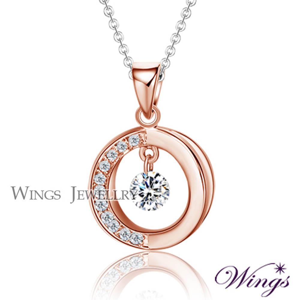 ~Wings~流轉時光 燦動方晶鋯石精鍍玫瑰金項鍊