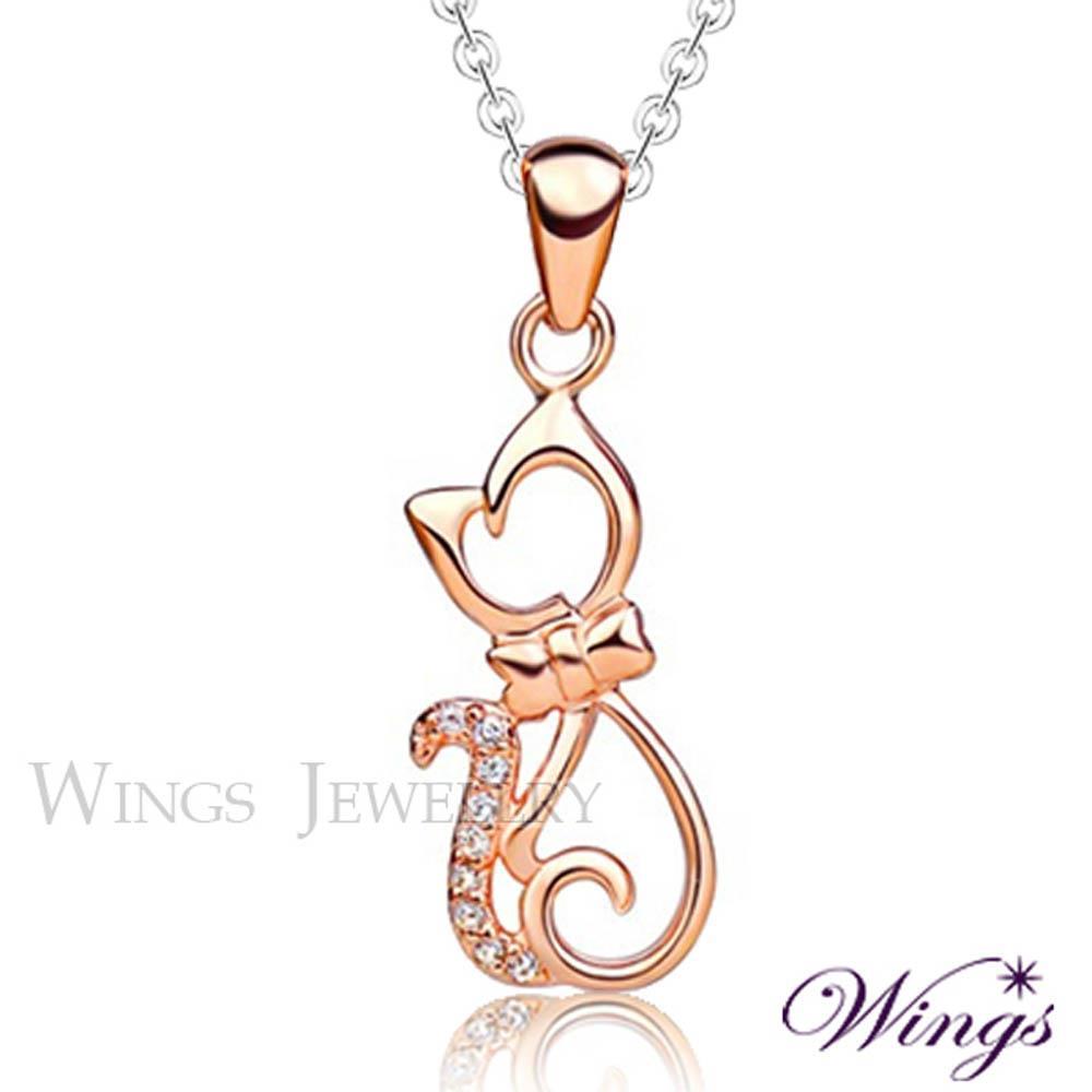 ~Wings~幸福貓 方晶鋯石 精鍍玫瑰金項鍊