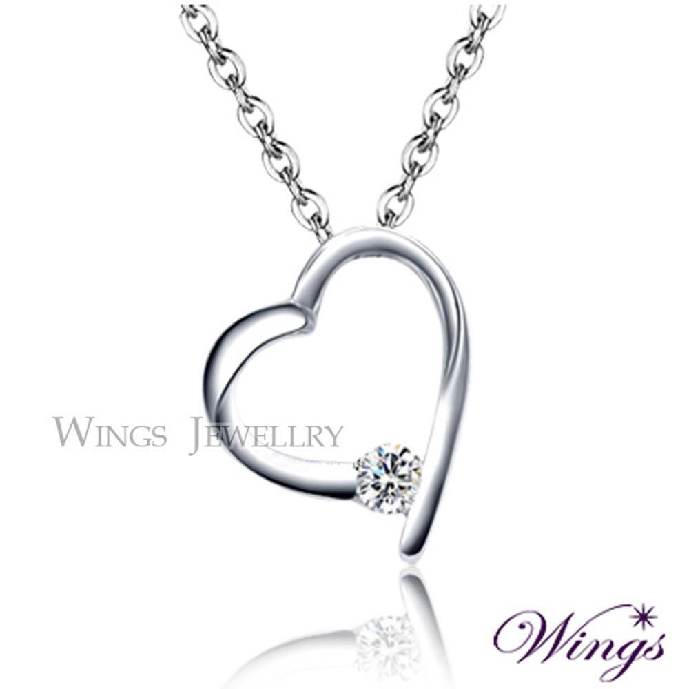 ~Wings~項鍊 偏愛你 閃耀八心八箭方晶鋯石精鍍白K金項鍊