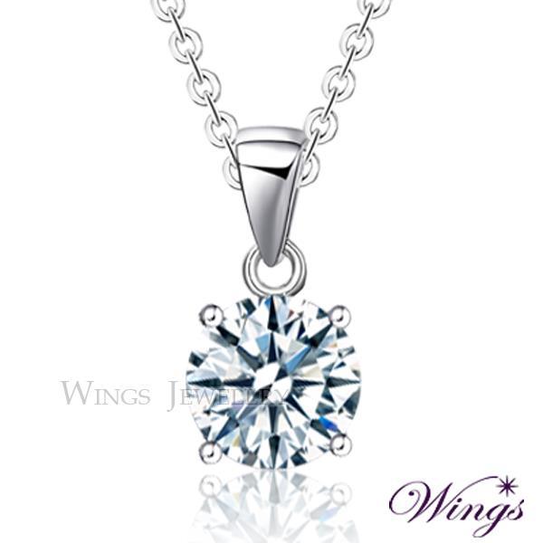~Wings~璀璨寶石 四爪鑲 2克拉單顆鋯石項鍊