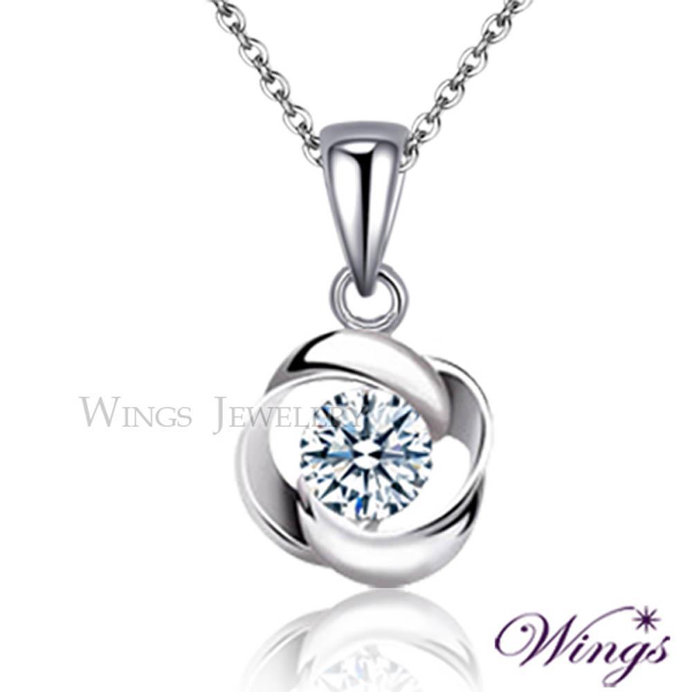 ~Wings~項鍊 幾何  方晶鋯石精鍍白K金項鍊