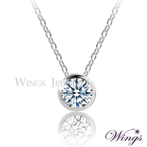 ~Wings~唯一 包鑲 八心八箭車工 單顆美鑽方晶鋯石項鍊