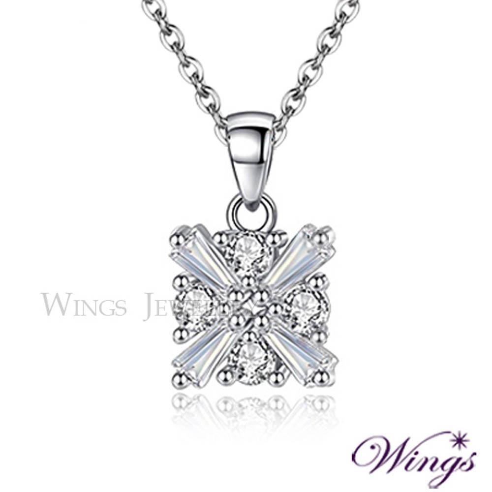 ~Wings~冰晶閃耀 璀璨八心八箭與T鑽的美妙 方晶鋯石精鍍白K金項鍊
