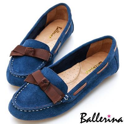 ~ 特惠▼799元~Ballerina~減壓柔軟.全真皮穿繩織帶莫卡辛豆豆鞋~藍