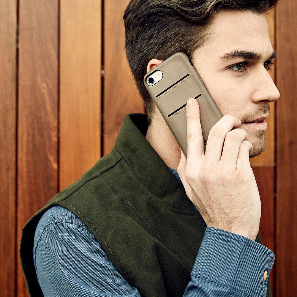 Twelve South Relaxed Leather iPhone 8 / 7 / 6 / 6s卡夾皮革保護背蓋-灰褐色