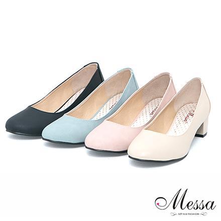 ~Messa米莎~ MIT  百搭新作素面內真皮低跟包鞋~四色