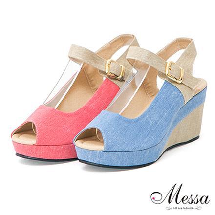 【Messa米莎】^(MIT^)氣質滿點雙色拼接魚口楔型涼鞋-二色