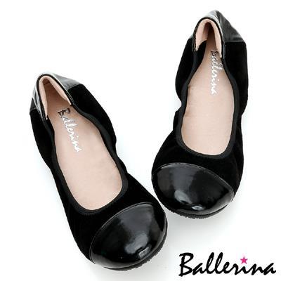 Ballerina~柔軟彎曲.全真皮雙拼皮革娃娃鞋~黑