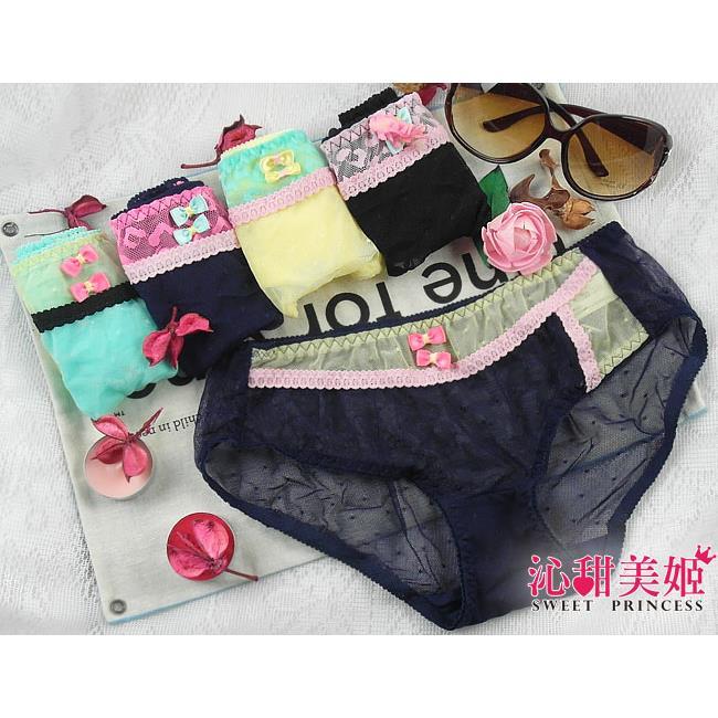 三角內褲 5色  雙色 線條拼接 柔感網紗系內褲 ~ 沁甜美姬 輕甜麗莎