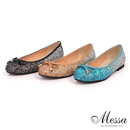 【Messa米莎】^(MIT^)童話風晶亮閃鑽蝴蝶結內真皮平底娃娃鞋-三色