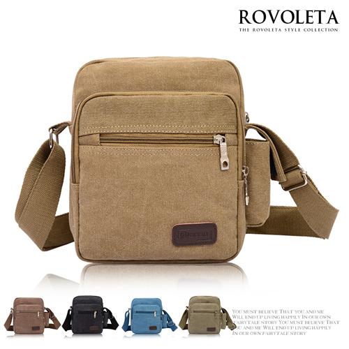 ROVOLETA.方型皮標壓印側背包.多 .帆布包.通勤.休閒包..SG~3014