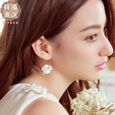 耳環 韓國直送立體花朵水鑽圓圈耳環~07110489~~Ruby s露比午茶