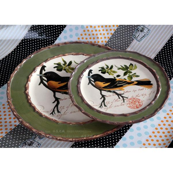 小鳥彩繪陶瓷平盤圓盤裝飾盤