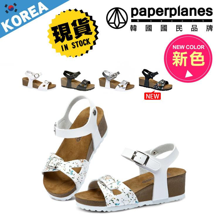 楔型鞋 PAPERPLANES正韓製夏日皮革極輕量軟木楔型厚底涼鞋3色 ~B7900221