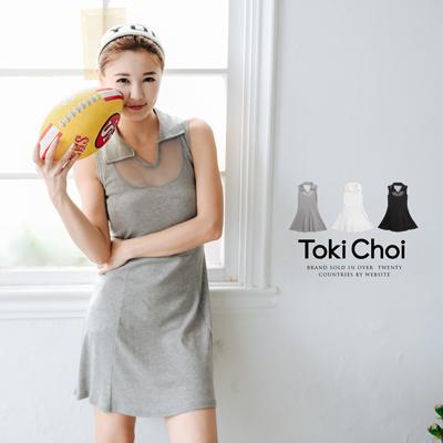 襯衫領透膚無袖洋裝^(5011176^)