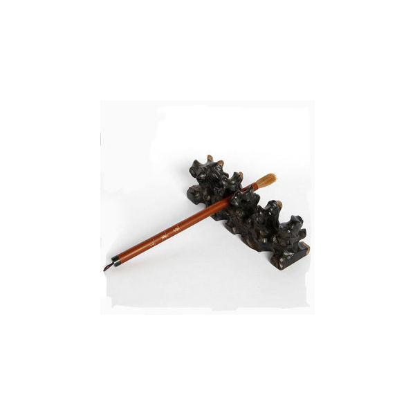 文房四寶擱筆 紅木雕工藝品 根雕筆架 黑檀木毛筆筆架