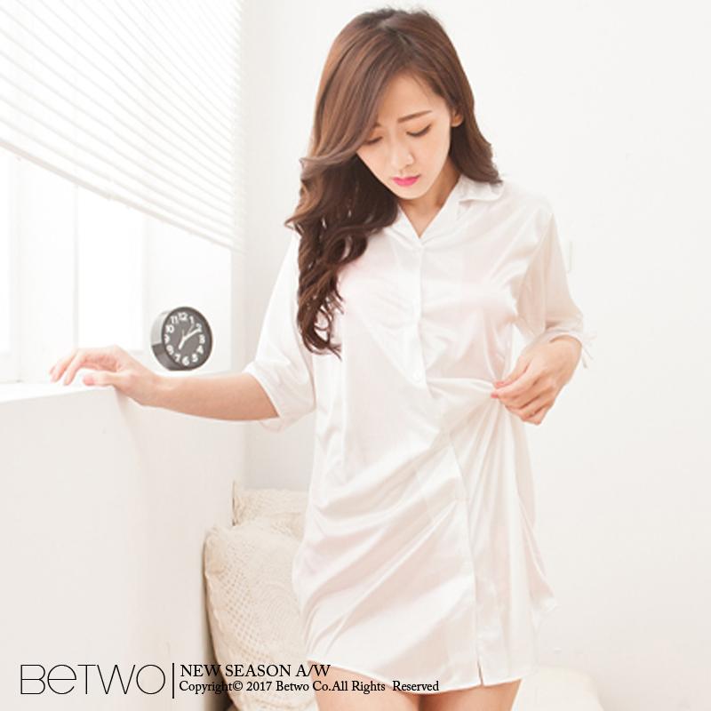 彼兔 betwo絲綢睡衣 OHB~甜美寬鬆版型襯衫式絲綢睡衣~70~AC44~111101