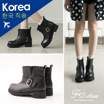 ~14140194~韓~帥氣騎士風側V彈性帶低跟短靴