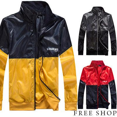 Free Shop~AM88839~美式休閒潮流撞色亮面拉鍊螺紋立領外套防風騎士風衣外套‧