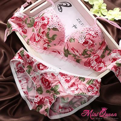 內衣~3排扣J型鋼圈蕾絲成套內衣~粉紅色(70~80)薔薇迷情~Mini Queen