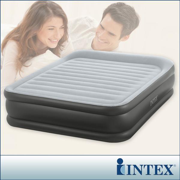 ~INTEX~豪華三層圍邊~雙人加大充氣床~寬152cm ^(內建電動幫浦^)~LC238