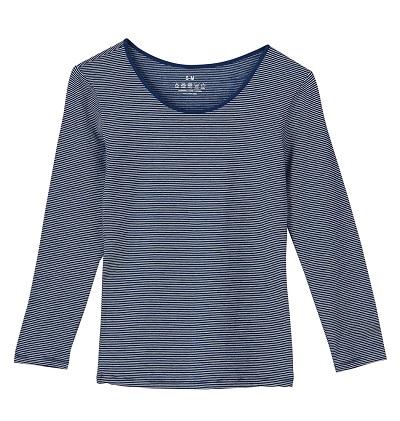 【零束縛】中空保溫系列秋冬百搭發熱衣-女長袖藍白條
