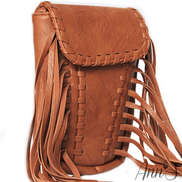 Ann'S時髦編織翻蓋流蘇肩背包~棕