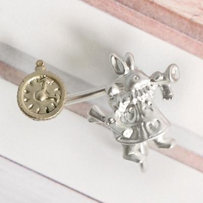 〔APM飾品〕 Gargle 愛麗絲的極冬夢境耳夾 ^(愛麗絲與白兔^) ^(喇叭兔與時鐘