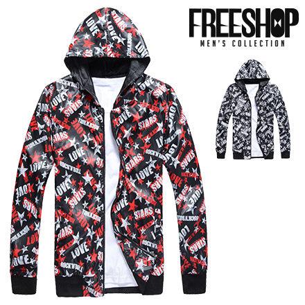 Free Shop~QR00203~日韓風格滿版斑駁星星 彈性束口連帽薄外套防風外套^(二