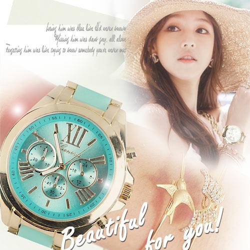 ~匠子工坊~~UQ0009~女錶 鍊帶錶 炫光金屬三眼 手鍊 首爾漫遊羅馬刻度中性錶