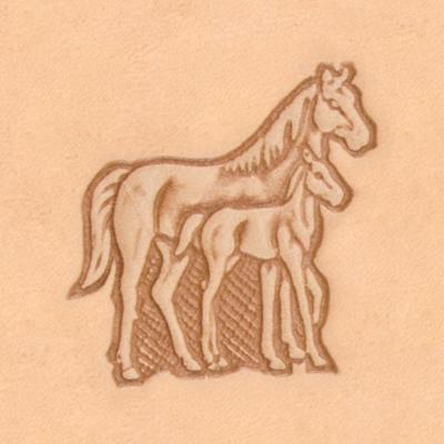 ^~頤坊皮藝^~母馬與小馬立體印花工具88316~00
