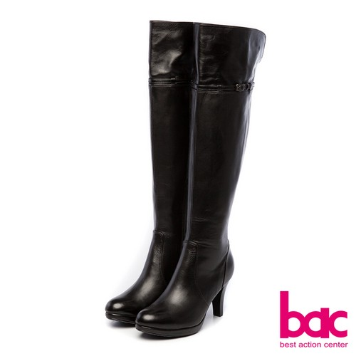 ~bac~新世代龐克~簡約英式搖滾風過膝防水台高跟長靴~黑色