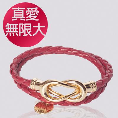 【INFFINI】大甲鎮瀾宮媽祖好運加持專利磁扣皮革手鍊-真愛無限大-紅色款-附萬用包