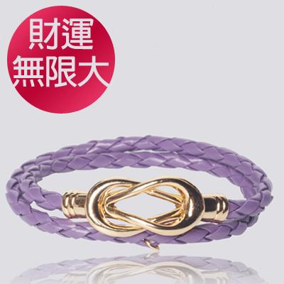 【INFFINI】大甲鎮瀾宮媽祖好運加持專利磁扣皮革手鍊-財運無限大-紫色款-附萬用包